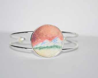 Sunset Bracelet - Watercolor painting - Watercolor Sunset painting - Mountain jewelry - Handmade cuff bracelet - Tiny painting - Mountains