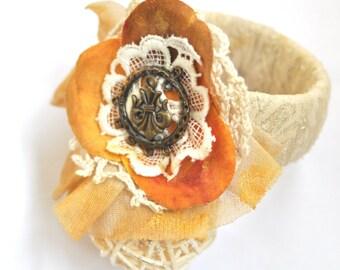 Shabby chic bracelet, wedding bracelet, bridal bracelet, hand painted bracelet, cuff,fabric cuff, lace cuff, romantic bracelet, vintage