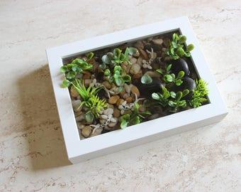 Miniature Koi Pond in Rectangle Frame / Terrarium / Fairy Garden Accessory / Tropical Home Decor