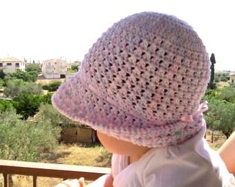 Crochet summer hat, white cotton hat, girls summer hat, spring cotton hat, childrens asseccories, wide brimmed hat, sun hat, child hat,#etsy