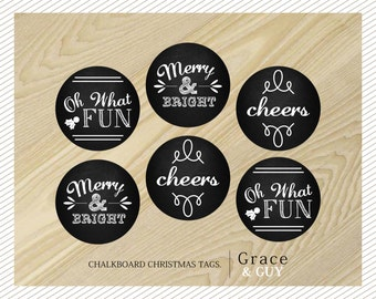 Chalkboard Christmas Tags - Round Christmas Stickers - Gift Tags
