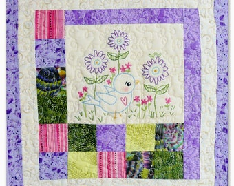 Blue Bird of Happiness embroidery Pattern PDF - Quilt stitchery hand flowers