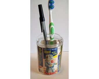 robot toothbrush holder retro vintage Fifties outer space tin toy bathroom kitsch