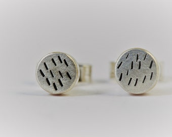 Cornish rain etched stud earrings in ecosilver , recyled sterling silver