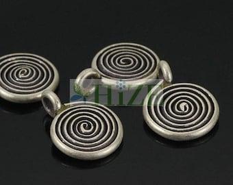 HIZE SC389 Thai Karen Hill Tribe Silver Swirl Spiral Roll Coin Charms 10mm (10)