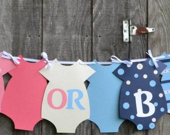 Girl Baby Shower Banner, Boy Baby Shower Banner, Onesie Banner, Gender Reveal Banner, Pink or Blue Banner,