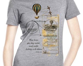 travel shirt - photographer shirt - womens tshirts - hiking shirt - steampunk clothing - vacation tshirt - travel -EVERY HORIZON - crew neck
