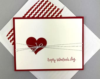 Hand Stamped Valentine's Day Card - Happy Valentine's Day Greeting Card Card - Heart Card - Handmade Card