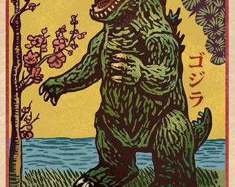 """King of the Monsters Matchbox Art- 5"""" x 7"""" matted signed print"""
