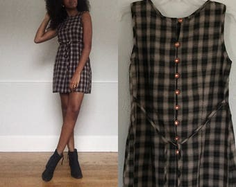Vintage 1960s Plaid Mini Dress - Brown and Black - 60s