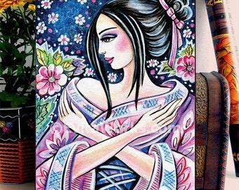 Asian woman kimono flower painting, home decor wall decor woman art, ACEO wood block, ABDG