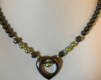 Handmade Hematite Open Heart Necklace with Lime Green Accents
