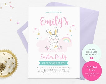 Easter party invitations PRINTABLE, Easter Bunny Invitations, Easter birthday invites, Girl 1st birthday, Kids party invites, First birthday