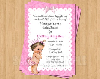 Vintage rose baby girl princess 1st birthday invitation jpeg vintage pink baby girl princess baby shower invitations jpeg cute unique sweet filmwisefo