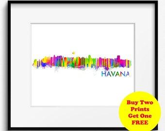 Havana Skyline Watercolor Art Print (396) Cityscape La Habana Cuba