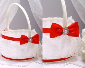 Wedding Flower Girl Basket Set Wedding Baskets flower basket wedding flower red wedding flower girl basket Girl Basket red wedding set