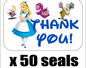 """50 Alice In Wonderland Thank You Envelope Seals / Labels / Stickers, 1"""" by 1.5"""""""