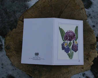 Iris card/Paintings on Silk-Batik/ Personalised Iris Card/Iris Mother's Day Card/Spring Flower Card/Iris Gift Card/Garden Iris Flower Card.