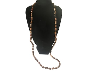 Vintage Brown Beaded Hawaiian Necklace from the 1980's