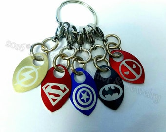Super Hero Themed Scale Mail  Stitch Markers