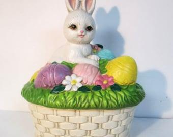 Lefton Easter Bunny Rabbit Basket with Eggs Trinket Box Figurine 1988