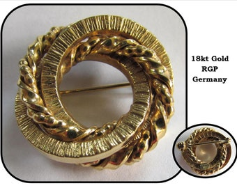 Vintage Round Twisted 18k Gold Ropes Pin Brooch, RGP, Germany, circle