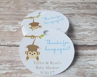 Monkey Baby Shower Tags, Jungle Themed Baby Shower, Hanging Monkey, Thanks for Hanging Out, Baby Shower, Jungle, Monkey (249)