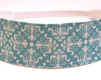 Headband Reversible Fabric  -  Aqua Blue & White Mod Floral  -  Headbands for Women - CLARITY