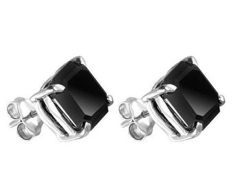 Certified 1ct,2ct,3ct Princess Cut Black diamond Studs in sterling Silver,14kt gold