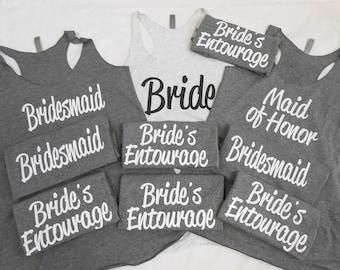 10 Bridesmaid Tank Tops, 10 Bachelorette Party Tank Tops, 10 Bridal Party Tanks, 10 Bridesmaids, Cute Flowy Bridesmaid Tanks, Set of 10