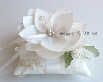 Ring bearer pillow, wedding ring pillow with Lily flower composition--- wedding ring pillow, wedding pillow, ready to ship