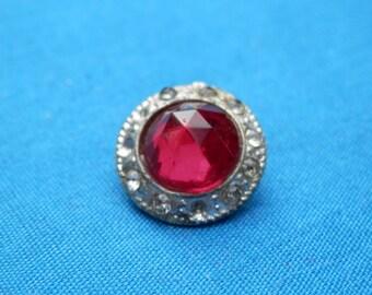 Rhinestone Studded Vintage  Button RED