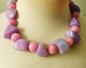 Unique Pink Lavender Jade Necklace