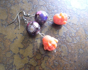 Buddha Garden Glass and Resin Antique Brass Beaded Dangle earrings