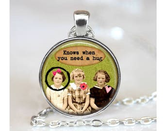 Friends Collage Pendant, Funny Pendant, Girlfriends Gift Pendant, Glass Cabochon Necklace, Vintage Collage Art Pendant, Bronze, Silver, 1401