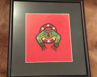 Antique Authentic Alaska Native Beadwork Frog Clan