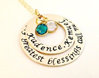 Gold Filled My Greatest Blessings Call Me Mom, Grandmother, Nana - Personalized, Custom Stacked Washer Necklace with Phrase, Names, Crystals