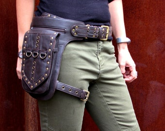 Leather Leg Holster Utility Belt Thigh Bag Burningman Steampunk Festival Hip Belt Bag leg bag in Brown HB31h *Free Shipping*