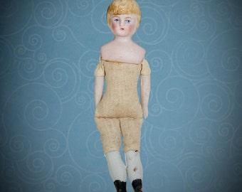 "Antique German bisque dolls' house doll adolescent girl 4 1/2"""