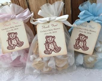 Teddy Bear Bags Baby Shower Birthday Organza Bags, Set of 10 Personalized Tags Girl Bear Bags Boy Bear Bags