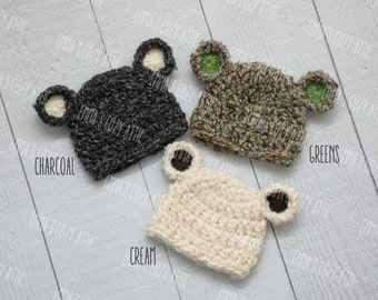 Baby bear hat, newborn boy hat, baby boy hat, blue, brown, cream, green, newborn boy photo prop, bear hat, coming home outfit