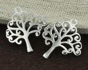2 of 925 Sterling Silver Tree of Life Charms 16x16.5mm. Polished finish :th1548