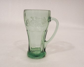 Vintage Libbey COKE COCA COLA Green Drinking Glass w/Handle - Excellent Condition Drink Beverage Glassware Replacement Dining Retro