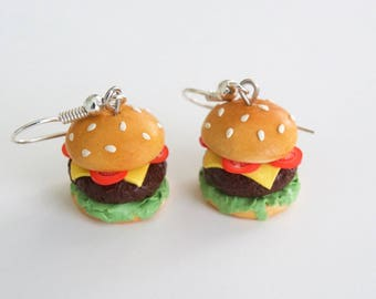 Food Jewelry, Cheeseburger Earrings, burger earrings, foodie jewelry, food earrings, miniature food jewelry, cheeseburger, food, foodie gift