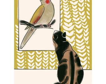"Cat illustration - Cat print -  The Art Lover   - 8.3"" X 11.7"" print - 4 for 3 sale"