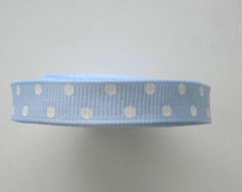 4.50 metres of Ribbon blue n white polka dot grosgrain Ribbon.  173