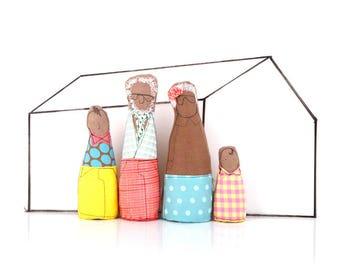 Dollhouse Family , family dolls set , Dollhouse dolls , 12th scale Miniature , African America Doll , Playset dolls , family portrait