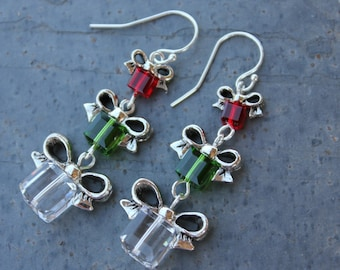 Fern green, cherry red and crystal Christmas present earrings - sterling silver hooks - made w/ Swarovski crystals - free shipping USA
