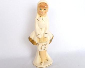 VINTAGE GIRL FIGURINE/ White Figurine/ Big Eyed Girl Figurine