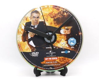 Johnny English Upcycled DVD Clock Film Movie Collectable Gift Idea